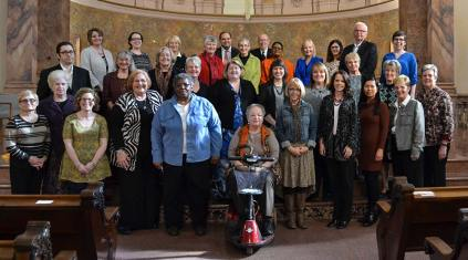 Providence Associates who made their first commitment on Nov. 12, 2016, are from front left: Donna Kida, Joan Haugh-Beatty (backset), Amy Langham, Dinah Vasbinder, Sandra Wickware, Linda Masesso, Sara Bennett, Valerie Esposito, Louella Dalina with Providence Associate Director Sister Diane Mason and Assistant Director Debbie Dillow. Second row from left: Benjamin Kite, Jeanie McElwain, Joyce Smith, Kathleen Hamilton, Theresa Vaughn, Jeanne Rewa, Christine O'Connor, Elizabeth Kolar Malone and Sister of Providence General Officer Jeanne Hagelskamp. Back row from left: Ericia Pruitt, Kelly Meyer, Christine Boyle, Anne McDermott, Frank Esposito (backset), Karen Sue Goehl, Carroll Vasbinder (backset), Lynda Parker, Jean Brown, Joan Richards, Will Hine and Katrina Welborn.