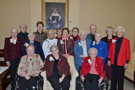 Sisters of Providence 60-year Jubilarians Sister Ann Casper, Sister Josephine Paolinelli, Sister Irma Meuse, Sister Mary Ann Fox, Sister Ellen Kehoe, Sister Mary Louise O'Connor, Sister Mary Frances Keusal, Sister Catherine Buster, Sister Maureen Abbott, Sister Joanne Golding and Sister Joan Kirkpatrick were honored on Dec. 8, during the annual Senior Jubilee Celebration. They were joined by the General Council, including Sister Dawn Tomaszewski, Sister Lisa Stallings, Sister Mary Beth Klingel, Sister Jeanne Hagelskamp and Sister Jenny Howard. Not pictured: 60-year Jubilarians Sister Agnes Clare Buckley and Sister Mary Adrian Jaroch.