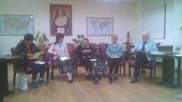Sister Rose Chiu (from left), Sister Donna Marie Fu, Sister Sophia Chen and Sister Lisa Stallings during discussion of the future of the mission in Asia.