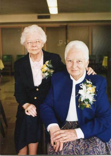 This photo was taken in 1996, during Sister Marie Brendan Harvey's Golden Jubilee. It also features her sister, Sister Brendan Harvey.