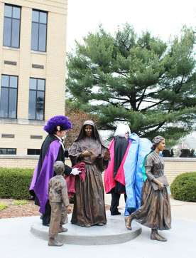 Many Knights of Columbus were present to make the day extra special. From greeting people at the door, to accompanying Sisters of Providence to their seats in the church, to helping to unveil the statue, their presence was inspiring.