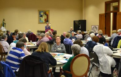 Retreat leader Sister Mary Montgomery facilitates a reflective moment during the retreat.