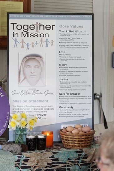 The Together in Mission banner at White Violet Center for Eco-Justice represents the Sisters of Providence, their ministries and the Providence Associates.