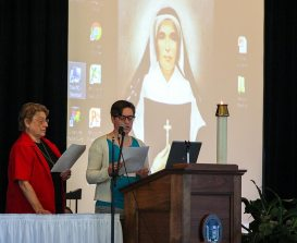 Sister Jeremy Gallet and blog-post author Postulant Emily TeKolste lead a prayer moment during the Sisters of Providence Annual meeting last week.