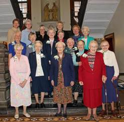 Front row (left to right), Sisters Mary Pat Cummings, Dorothy Drobis, Marie Kevin Tighe, Rose Virginia Eichman, Cecilia Carter, Marie Esther Sivertsen. Middle row (left to right), Sisters Mary Ann McCauley, Francis Edwards, Marilyn Herber, Emily Walsh, Patricia Geis, Alice Walsh. Back row (left to right), Sisters Dawn Tomaszewski, Lisa Stallings, Denise Wilkinson, Jenny Howard and Mary Beth Klingel.