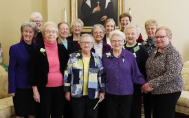 Sisters of Providence 60-year Jubilarians along with General Councilors included (front, from left) General Councilor Sister Jeanne Hagelskamp, Sisters Janet Gilligan, Carol Lindly, Carol Meyers and General Councilor Sister Mary Beth Klingel. (Back) General Councilor Sister Lisa Stallings, Sister Arlene Knarzer, General Councilor Sister Jenny Howard, Sisters Mary Catherine Keene and Susanne Gallagher, General Superior Sister Dawn Tomaszewski, Sister Elizabeth Smigla and Sister Sharon Richards.