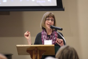 Retreat leader Jeanne Connolly, a covenant companion with the Wheaton Franciscans, presents.
