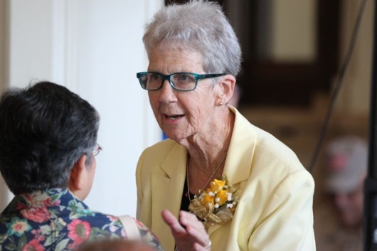 Sister Marianne Ridgell greets a guest