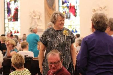 50 year jubilarian Sister Jody O'Neil visits before the Mass.