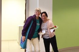 Sister Mary Montgomery and My Huong Pham pose on the way to lunch.