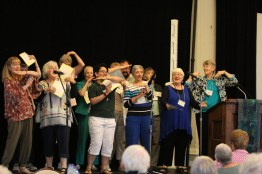 Sisters and associates performing at the Sunday evening ice cream social. Visible from left, Providence Associates Mel Marino Wolff, Sheila Donis, Sisters Connie Kramer, Dina Bato and Terri Grasso. PA Diann Neu and Sister Mary Montgomery.