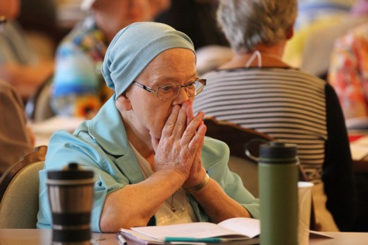 Sister Suzanne Dailey during a prayer moment.