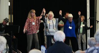Providence Associates preform song parodies at the ice cream social with the sisters on Saturday. From left, Mel Marino Wolff, Sheila Donis and Diann Neu.