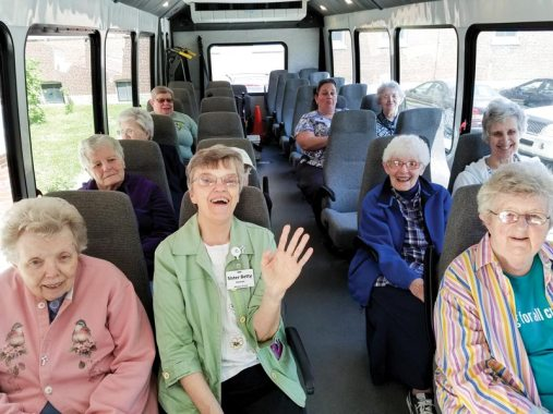 On the bus and ready to go: from left Sisters Suzanne Smith, Betty Koressel, Florence Norton and Ruth Ellen Doane.