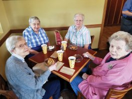 From left, Sisters Rosemary Borntrager, Suzanne Buthod, Joan Mary Schaefer and Suzanne Smith enjoy a piece of pie at the Pie Company.