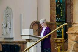 Sister Marsha Speth offers a warm welcome to everyone.