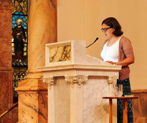 After singing Psalm 16, Sister Emily TeKolste reads from the Journals and Letters of Saint Mother Theodore Guerin.