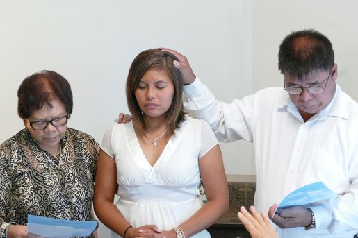 Jessica's parents bless her before her official entrance into the Sisters of Providence Congregation.
