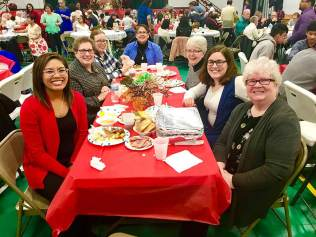 Sisters of Providence attending this year's Terre Haute celebration of Simbang Gabi, from left, Postulant Jessica Vitente and Sisters Paula Damiano, Gill Quigley, Joni Luna, Marsha Speth, Emily TeKolste and Jan Craven.