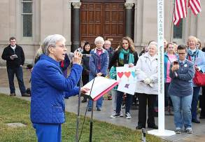 Sister Rita Clare Gerardot speaking to the crowd during the Gathering of Solidarity at Saint Mary-of-the-Woods.