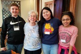 Sister Gloria Memering with volunteers