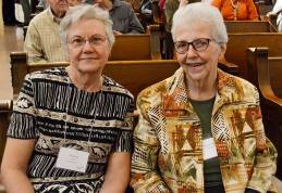 Sister Ann Casper (right) with Providence Associate Nancy Olson in the Church of the Immaculate Conception.