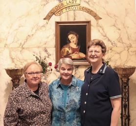 Sister Mary Beth Klingel (left) and General Superior Sister Dawn Tomaszewski (right) with 2019 Golden Jubilarian Sister Katherine Francis French.