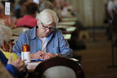 Sister Lisa Stallings takes some notes during one of the presentations.