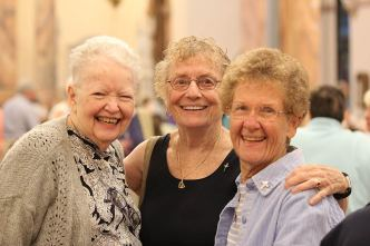 From left, Sister Grace Marie Meehan, Providence Associate Betty Sloan and Sister Josephine Bryan catch up and enjoy one another's company.