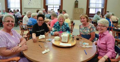 Enjoying the sister/associate social on Saturday. From left: Sisters Martha Rojo, Dina Bato, General Officer Jenny Howard, Providence Associate Candidate Jane Moss and Sister Marsha Speth.