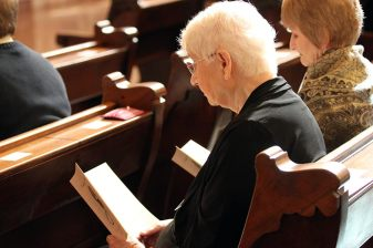 Sister Carolyn Kessler at prayer during the liturgy
