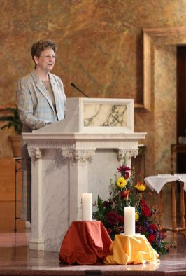 General Superior Sister Dawn Tomazewski offers a reflection at the Providence Associate first commitment