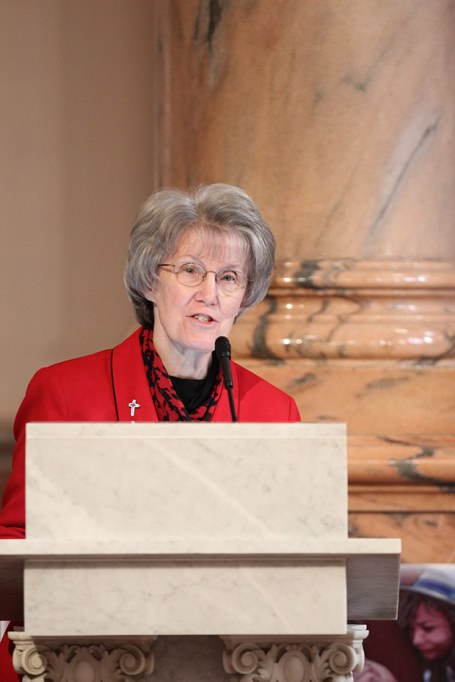 General Officer Sister Jeanne Hagleskamp offers a welcome