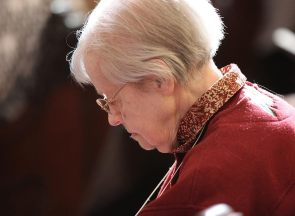 Sister Rosemary Borntrager in prayer