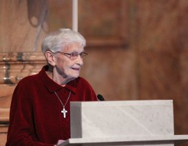 Sister Joann Quinkert offers the welcome
