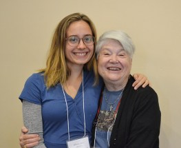 Providence Associate Candidate Olivia (Liv) Charlton of Des Moines, Iowa, with her Sister of Providence companion Sister Rosemary Nudd during the Providence Associates orientation day in October 2019. Apply by May 31 to begin the process of becoming a Providence Associate this year.