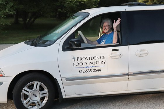 Sister Joseph Fillenwarth in the Providence Food Pantry van.