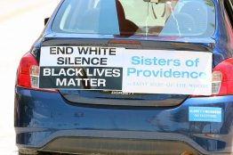 Sister Barbara's car decorated for the protest