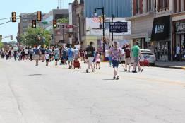 Protesters march down Wabash Avenue in Terre Haute