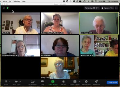 Members of a virtual group from top left: Providence Assciates Ron Keller, Debbie Dillow, Sisters Jean Fuqua, Susanne Gallagher, Providence Associate Michelle Davis, Sisters Teresina Grasso and Regina Gallo, PA Cathy Keller