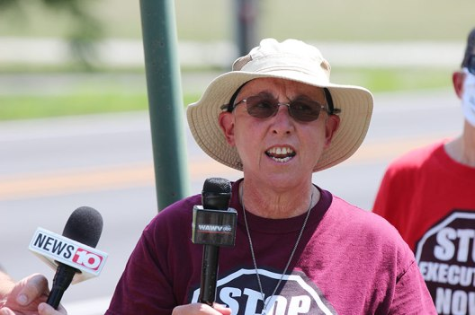 Sister Barbara Battista speaking to members of the media at the July 6 press conference.