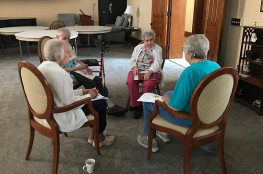 Sister Mary Lois Hennel speaks with her group