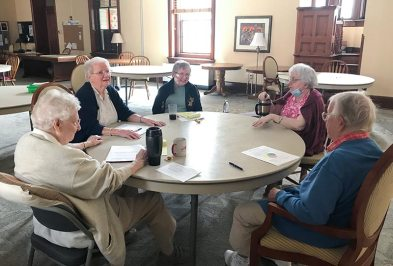 Providence Hall sister observers discuss, from left: Sisters Dorothy Ellen Wolsiffer, Joan Mary Schaefer, Donna Butler, Loretta Picucci, Elizabeth Meyer