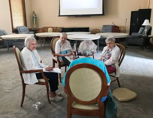 Sisters Mary Ann Lechner, Marie Esther Sivertsen and Mary Lois Hennel discuss in their small group in Providence Hall
