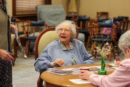 Sister Martha Ann Rifner speaks to a general officer