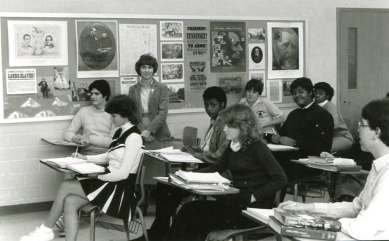 Sister Mary Ann Stewart with her students at Cathedral High School in 1983.