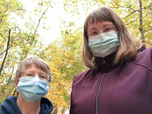 Sisters Patty Wallace and Arrianne Whittaker out for a fall walk near their Indianapolis home.