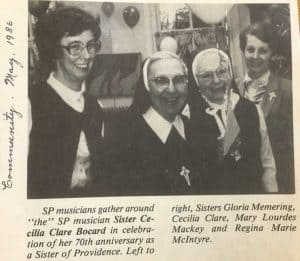 newspaper clipping of four sister musicians
