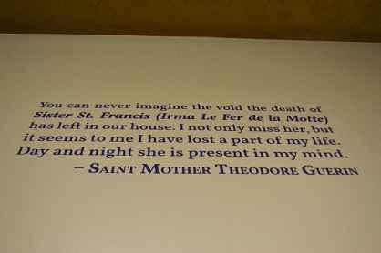 A quote from Saint Mother Theodore Guerin regarding Sister St. Francis Xavier Irma Le Fer De La Motte.