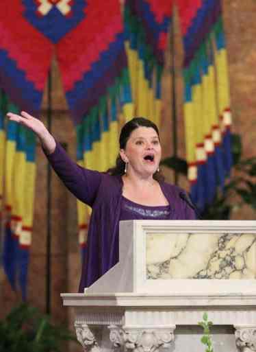Providence Associate Rebecca Zelensky leads song during the liturgy